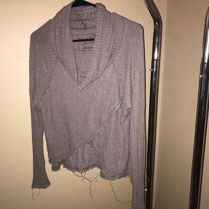 Cross cross cowl neck sweater